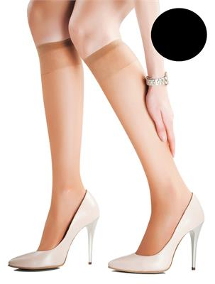 SET 2 KNEE HIGH BLACK 15 DEN SIZE UNICA | Escapade Fashion